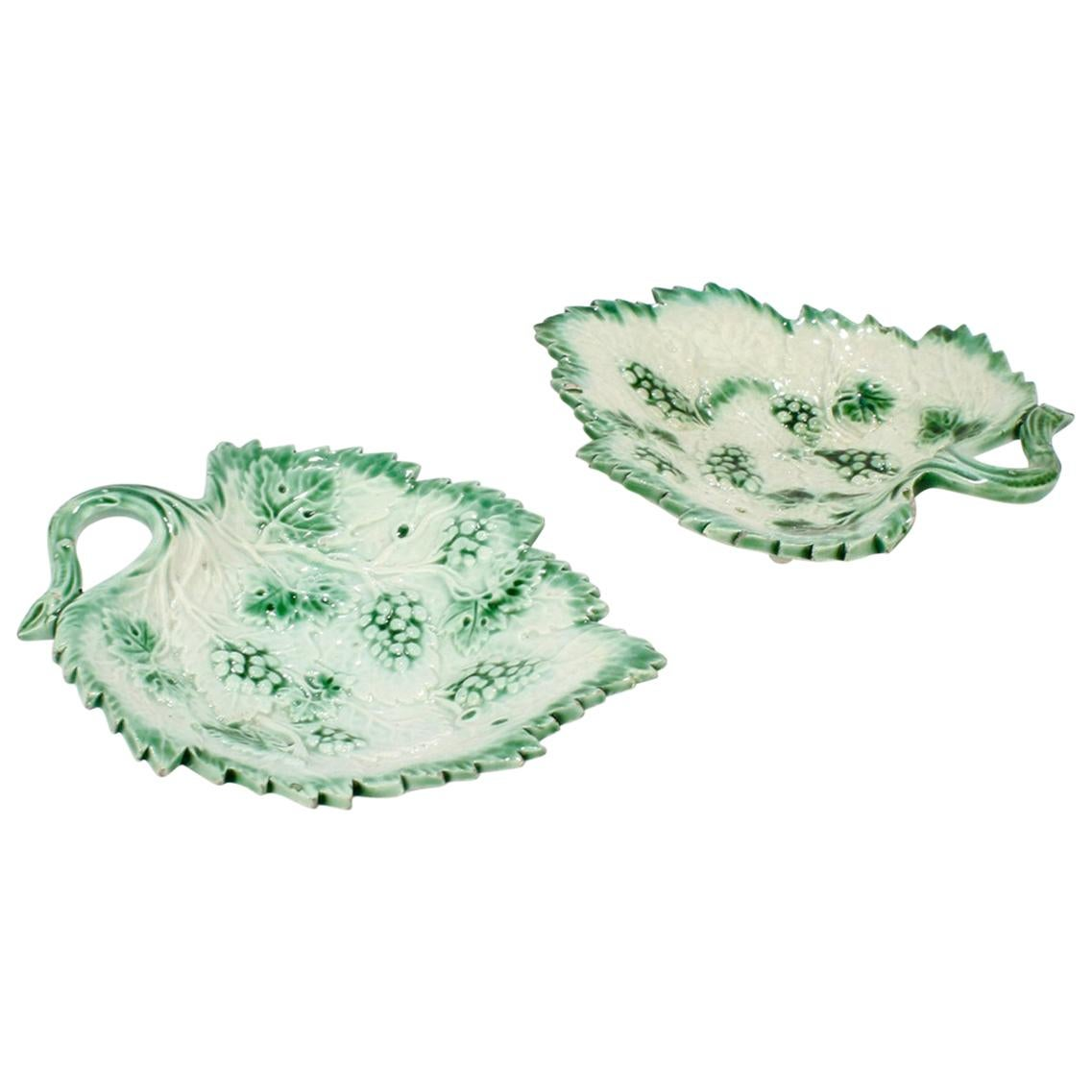 Pair of Staffordshire Pearlware Green Border Leaf Form Pickle Dishes