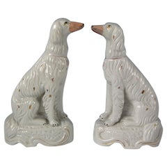 Pair of Staffordshire Pottery Irish Setters