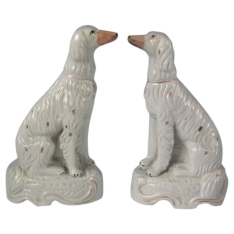 Pair of Staffordshire Pottery Irish Setters For Sale