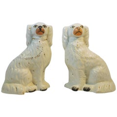 Pair of Staffordshire Pottery King Charles Spaniels, circa 1860