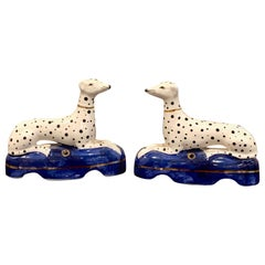 Pair of Staffordshire Seated Dalmatian Inkwells