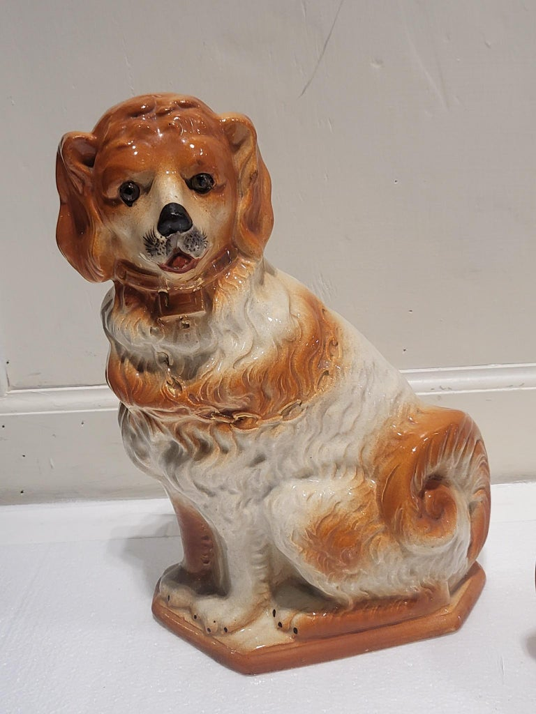Mid-20th Century Pair of Staffordshire Spaniels For Sale
