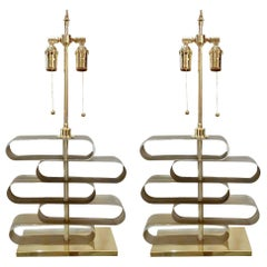 Pair of Staggered Murano Glass Table Lamps