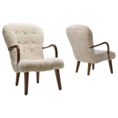 Pair of Stained Beech Easy Chairs by a Danish Cabinetmaker, Denmark, 1940s