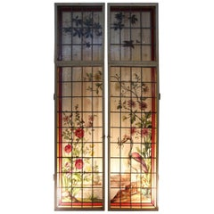 Pair of Stained Glass Painted Art Nouveau Signed