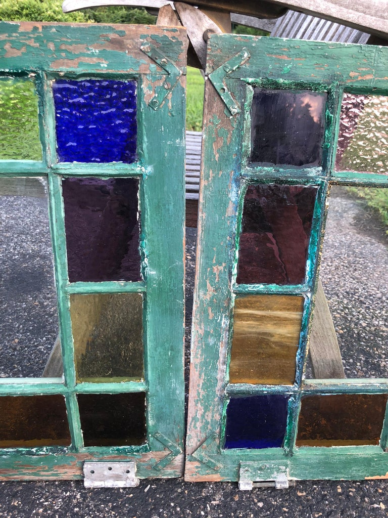 Pair of Stained Glass Windows For Sale 3