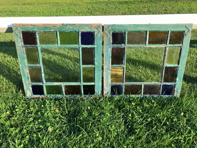 Pair of Stained Glass Windows For Sale 6