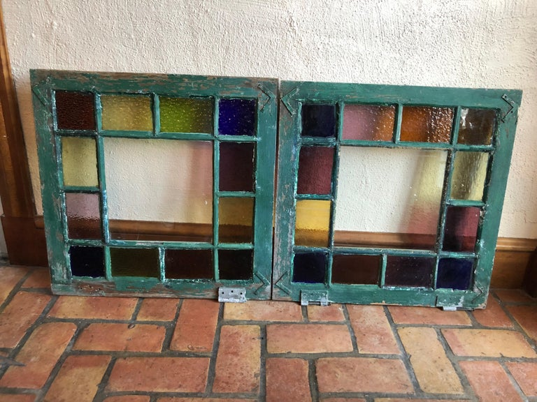 Country Pair of Stained Glass Windows For Sale