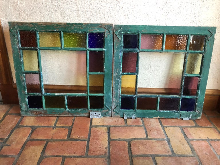 American Pair of Stained Glass Windows For Sale