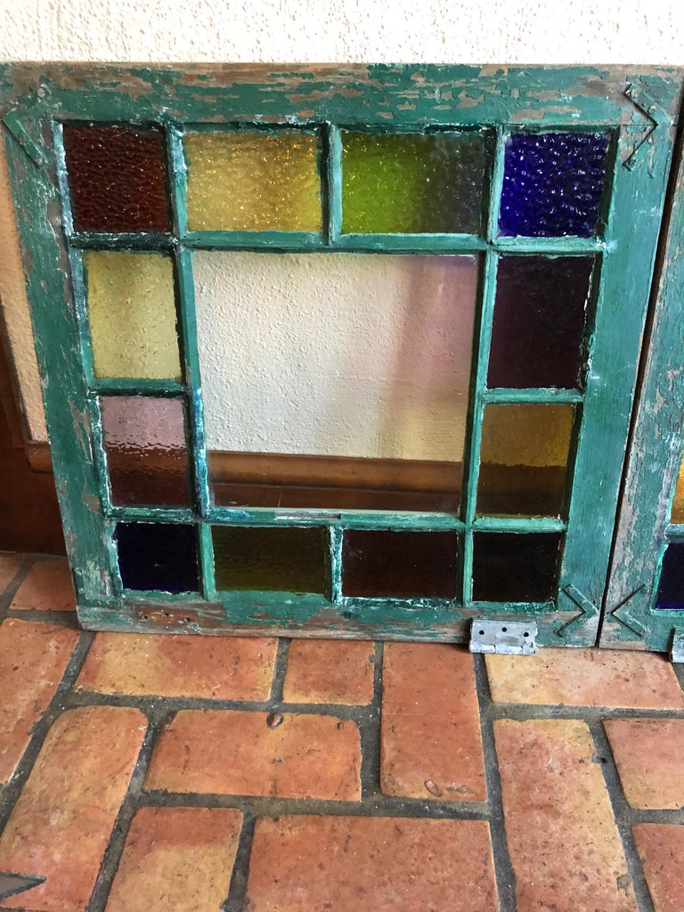 Mid-20th Century Pair of Stained Glass Windows For Sale