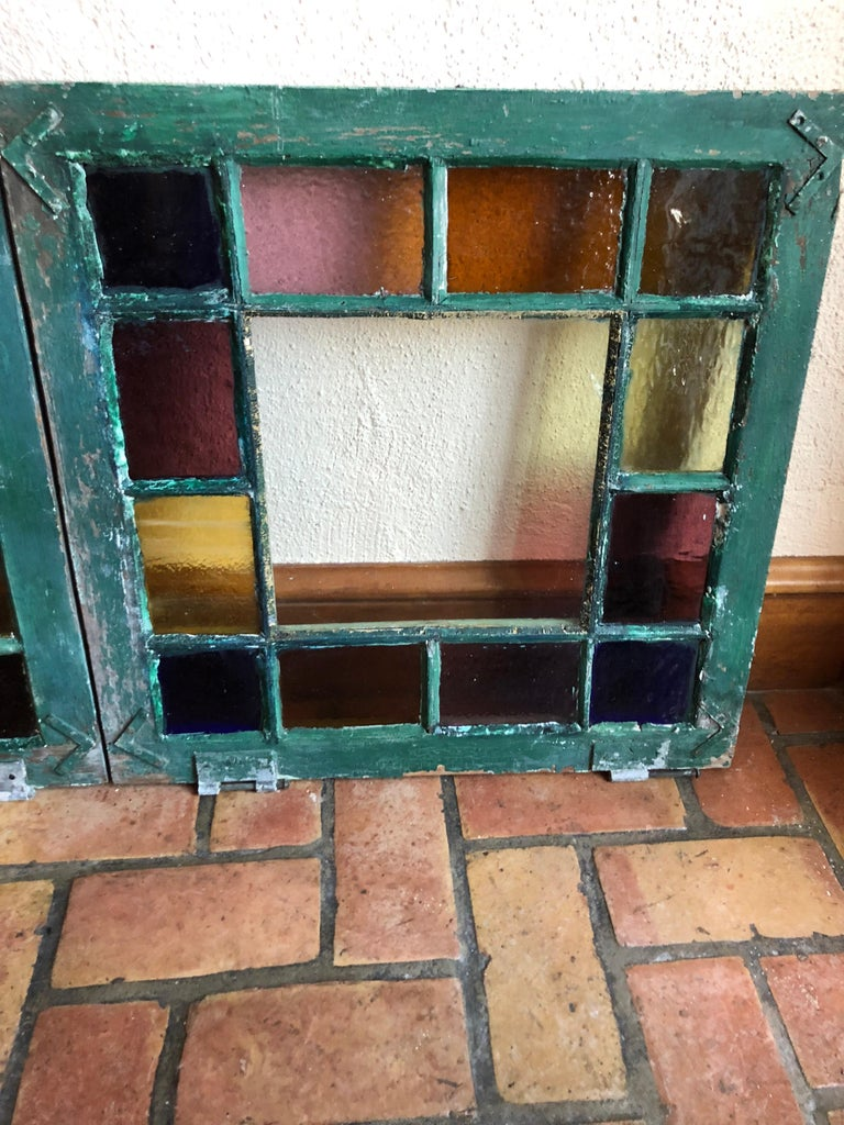 Brass Pair of Stained Glass Windows For Sale
