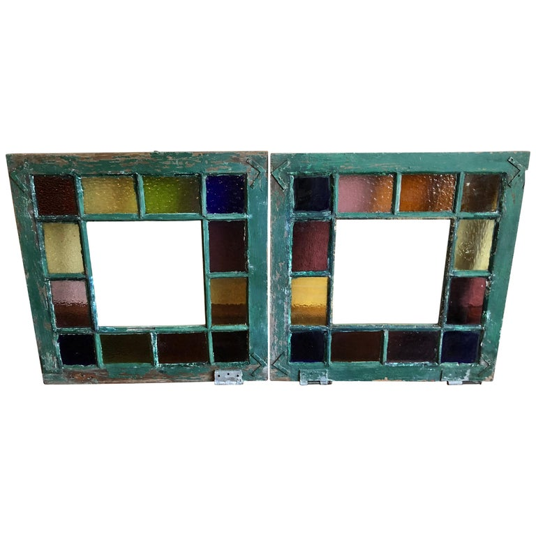 Pair of Stained Glass Windows For Sale