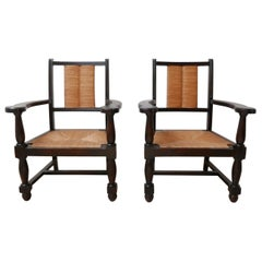 Pair of Stained Neo Basque French Mid-Century Wooden and Rush Armchairs