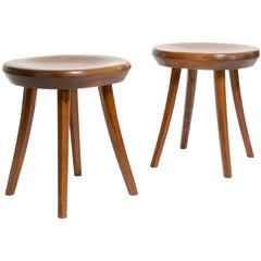 Pair of Stained Pine Scandinavian Modern Handcrafted Midcentury Stools