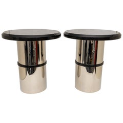 Pair of Stainless Steel and Granite Tables