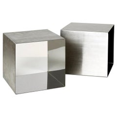 Pair of Stainless Steel Cube Tables by Maria Pergay for Design Steel France 1968