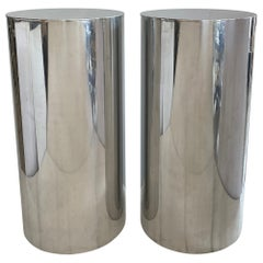 Pair of Stainless Steel Drum Pedestals by Payl Mayen for Habitat