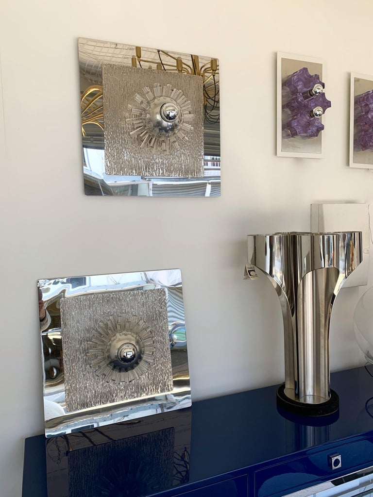 Pair of Stainless Steel Lucite Sconces by A. Brotto for Esperia, Italy, 1970 For Sale 6