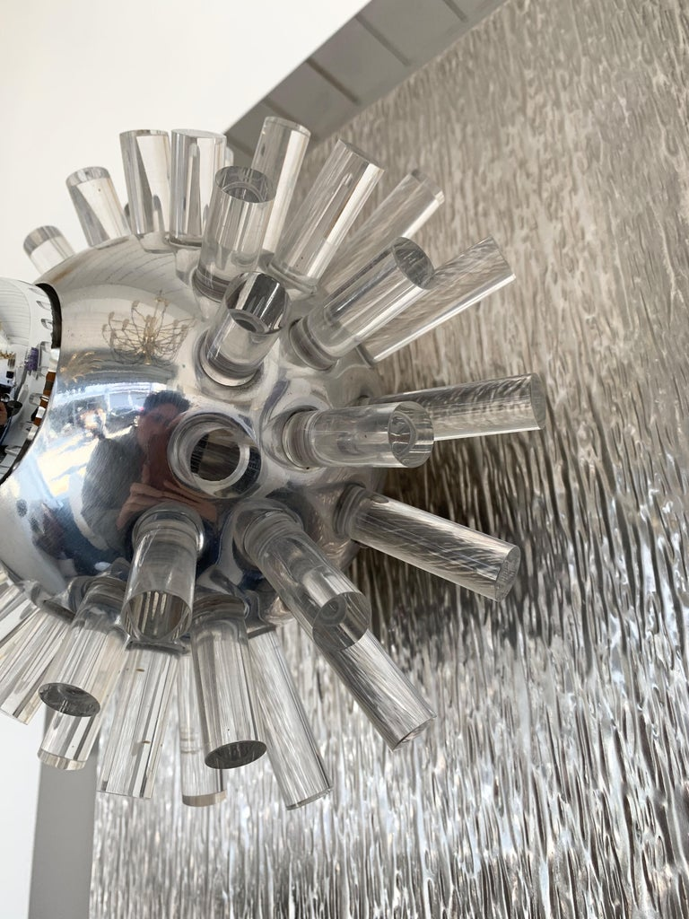 Pair of Stainless Steel Lucite Sconces by A. Brotto for Esperia, Italy, 1970 For Sale 4