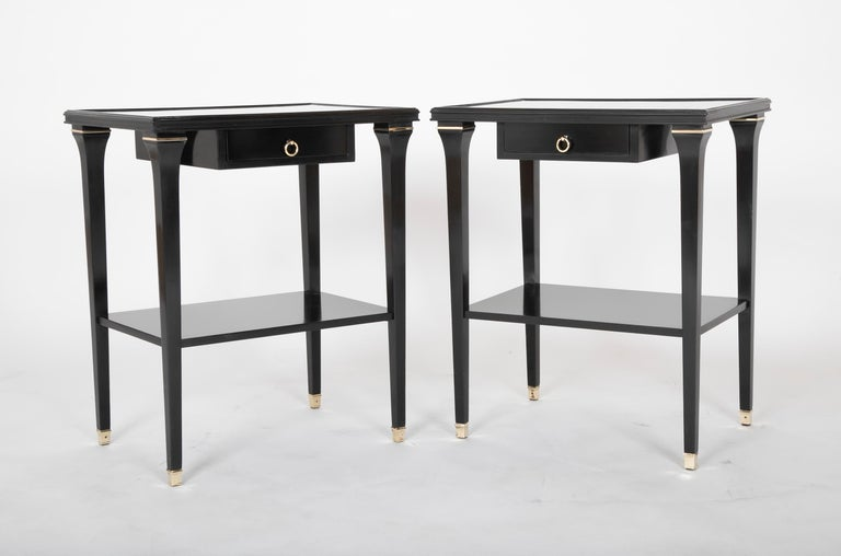Neoclassical Revival Pair of Stamped Ebonized Oak Bedside Tables by Jansen For Sale