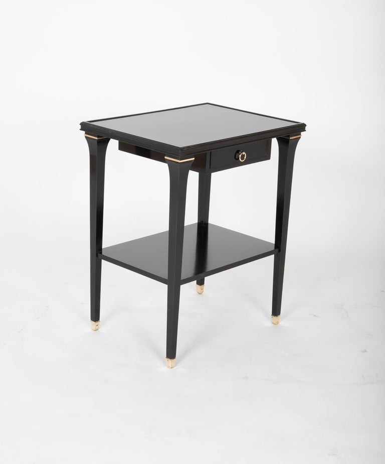 French Pair of Stamped Ebonized Oak Bedside Tables by Jansen For Sale