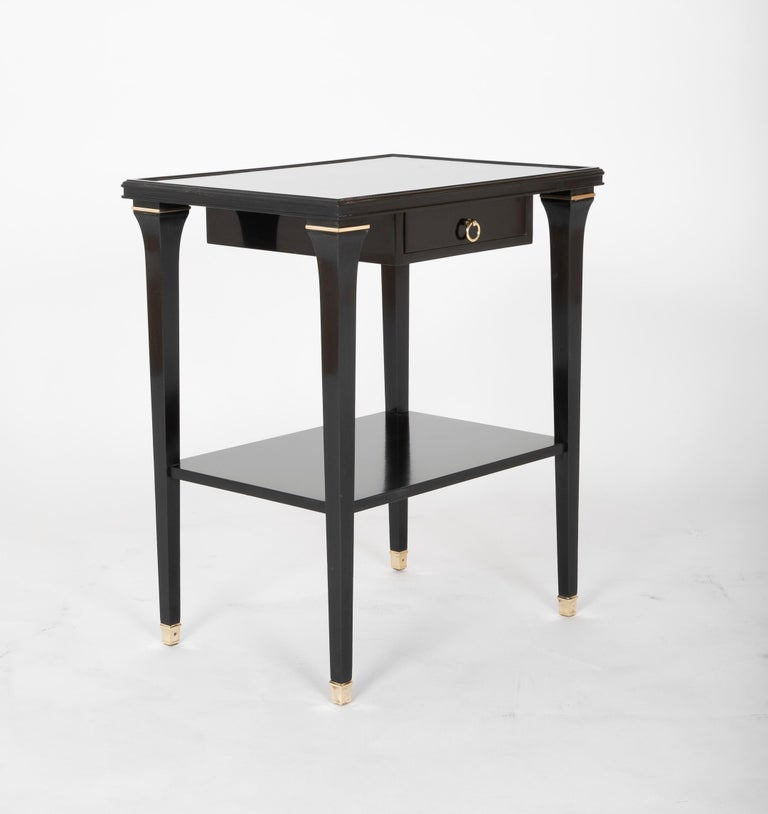 Pair of Stamped Ebonized Oak Bedside Tables by Jansen In Good Condition For Sale In Stamford, CT