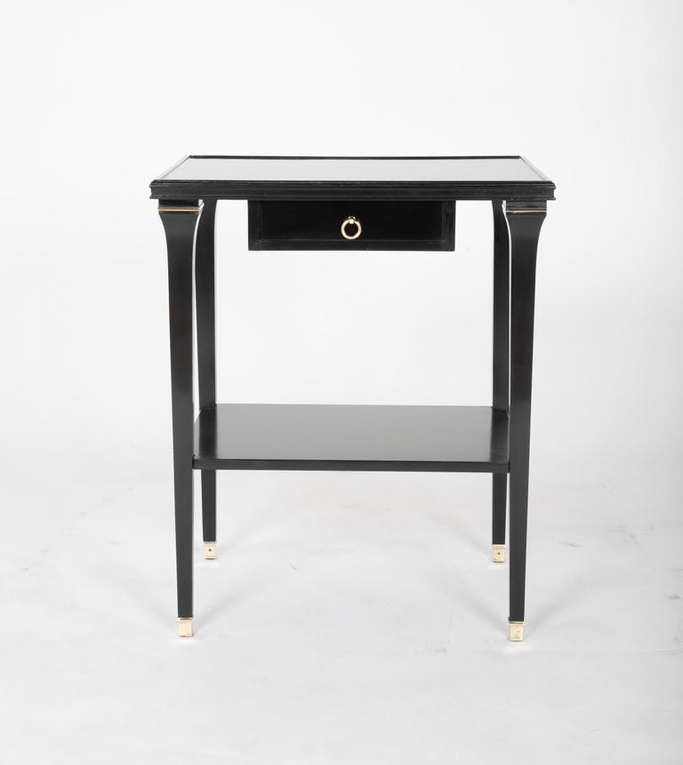 20th Century Pair of Stamped Ebonized Oak Bedside Tables by Jansen For Sale