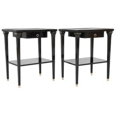 Pair of Stamped Ebonized Oak Bedside Tables by Jansen