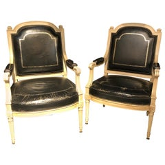 Pair of Stamped Jansen Bergères/ Armchairs Black Tooled Leather Upholstery