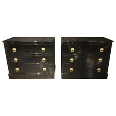 Pair of Stamped JANSEN Ebony Commodes, Nightstands or Chests, Hollywood Regency