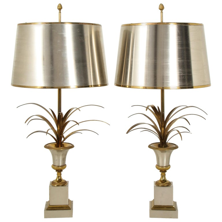 Pair of Stamped Maison Charles Brass and Steel Palmier Table Lamps, French 1960s For Sale