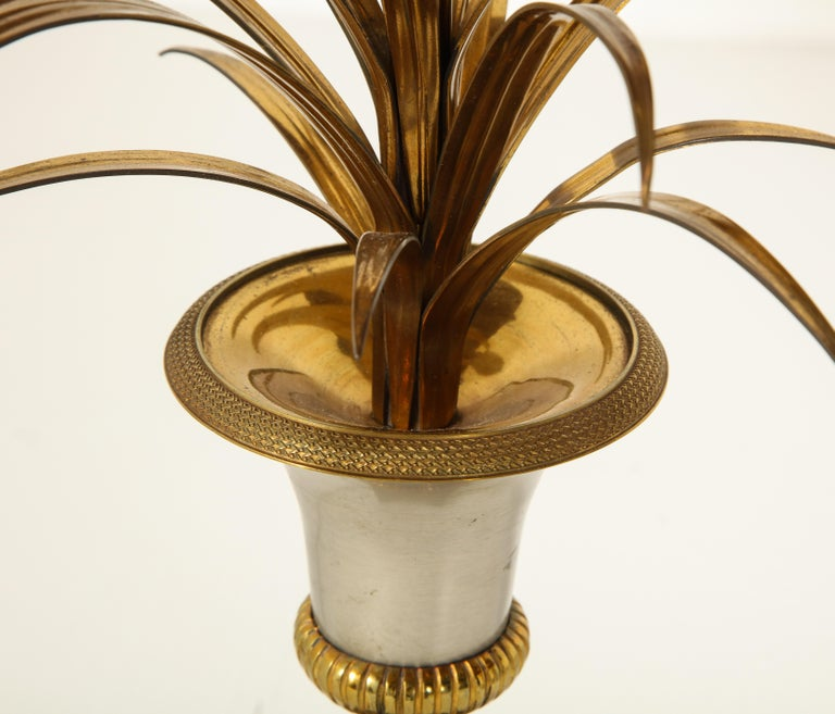 Pair of Stamped Maison Charles Brass and Steel Palmier Table Lamps, French 1960s For Sale 6