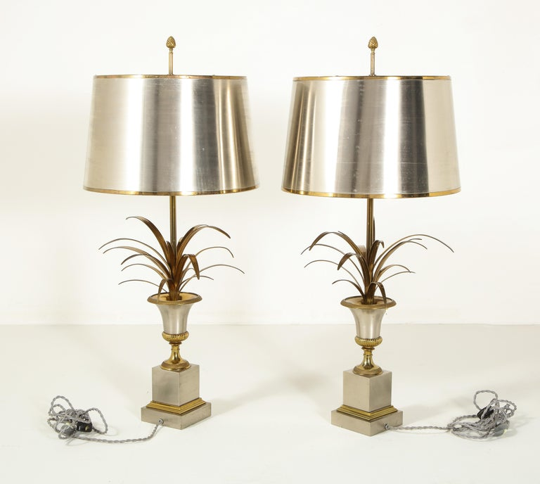 Pair of Stamped Maison Charles Brass and Steel Palmier Table Lamps, French 1960s For Sale 7