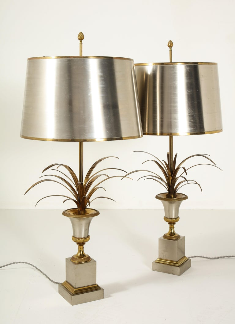 Pair of Stamped Maison Charles Brass and Steel Palmier Table Lamps, French 1960s For Sale 8