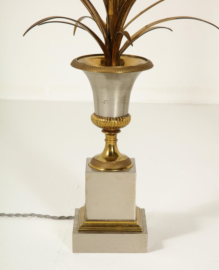 Hollywood Regency Pair of Stamped Maison Charles Brass and Steel Palmier Table Lamps, French 1960s For Sale