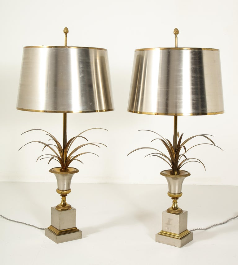 Mid-20th Century Pair of Stamped Maison Charles Brass and Steel Palmier Table Lamps, French 1960s For Sale