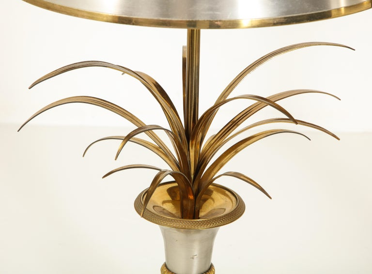 Pair of Stamped Maison Charles Brass and Steel Palmier Table Lamps, French 1960s For Sale 2