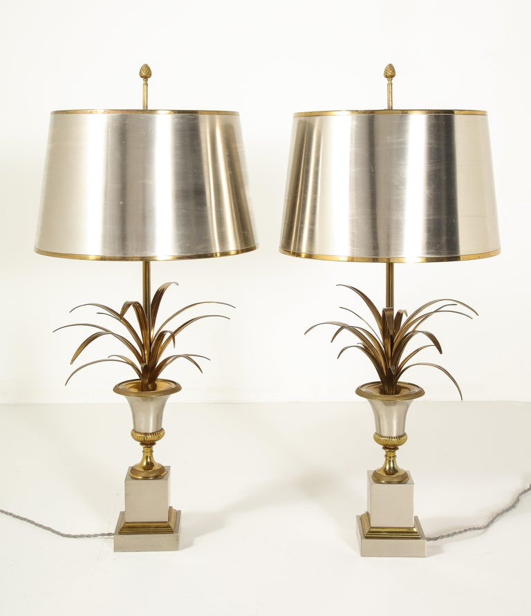 Pair of Stamped Maison Charles Brass and Steel Palmier Table Lamps, French 1960s For Sale 4