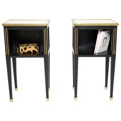 Pair of Stamped Maison Jansen Black Brass Marble Nightstands, 1950s