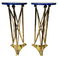 Pair of Stands in Bronze and Lapis Lazuli 20th Century Very Good Condition