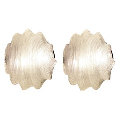 Pair of Star Shaped Murano Glass Flush Mounts or Sconces