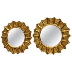 Pair of Starburst Sunburst Gilded Wood Mirror, German