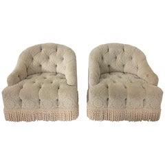 Pair of Starlet Hollywood Regency Tufted Cut Velvet Club Chairs