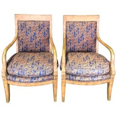 Pair of Stately Antique French Empire Style Armchairs