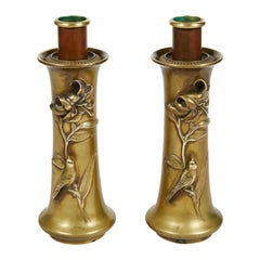 Pair of Stately Vintage Art Nouveau Brass and Copper Candlesticks