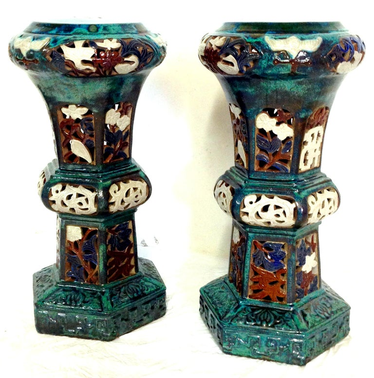 Asian Pair Of Statuesque Ceramic Glaze Chinese Export Garden Pedestal Plant Stands For Sale