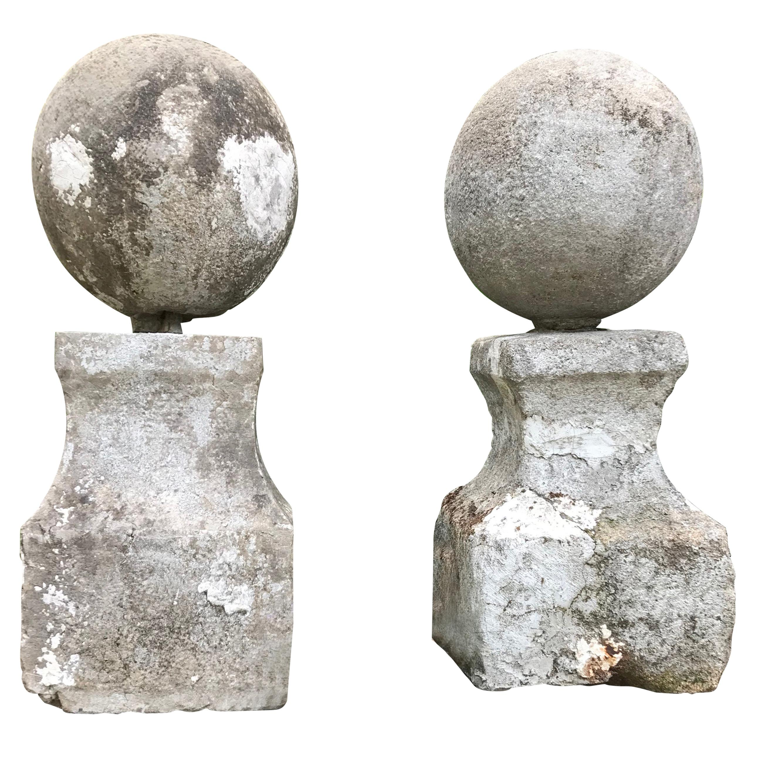 Pair of Statuesque French 18th Century Hand Carved Limestone French Ball Finials