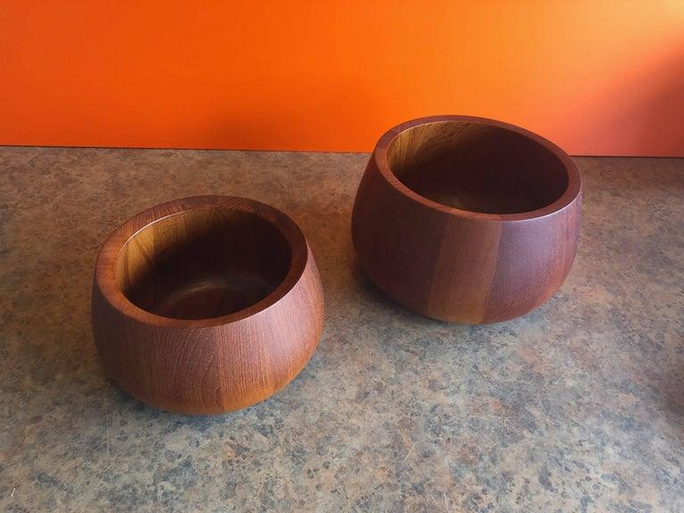 Mid-Century Modern Pair of Staved Teak Serving Bowls by Jens Quistgaard for Dansk For Sale