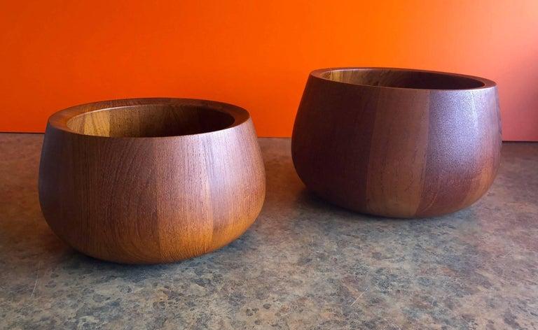 Danish Pair of Staved Teak Serving Bowls by Jens Quistgaard for Dansk For Sale