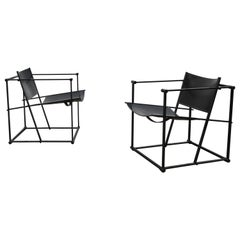 Pair of Steel and Black Leather FM62 Chairs by Radboud Van Beekum for Pastoe